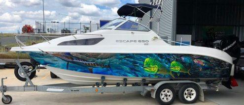 Boat Wrap White Marlin Design