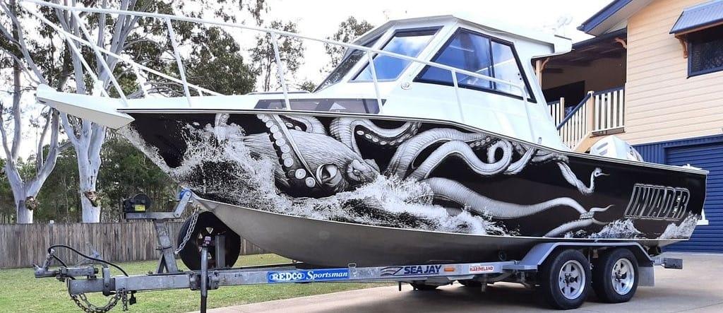 Kraken Octopus Design Fishing Boat Wrap
