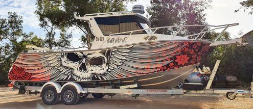 Skull Flower boat wrap