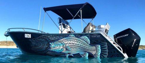 Tribal Barramundi Boat Wraps